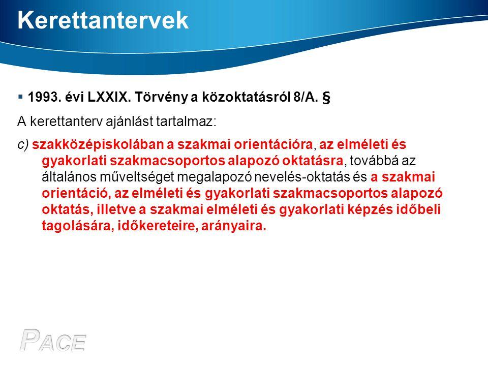 Kerettantervek  1993. évi LXXIX. Törvény a közoktatásról 8/A. § A kerettanterv ajánlást tartalmaz: c) szakközépiskolában a szakmai orientációra, az e