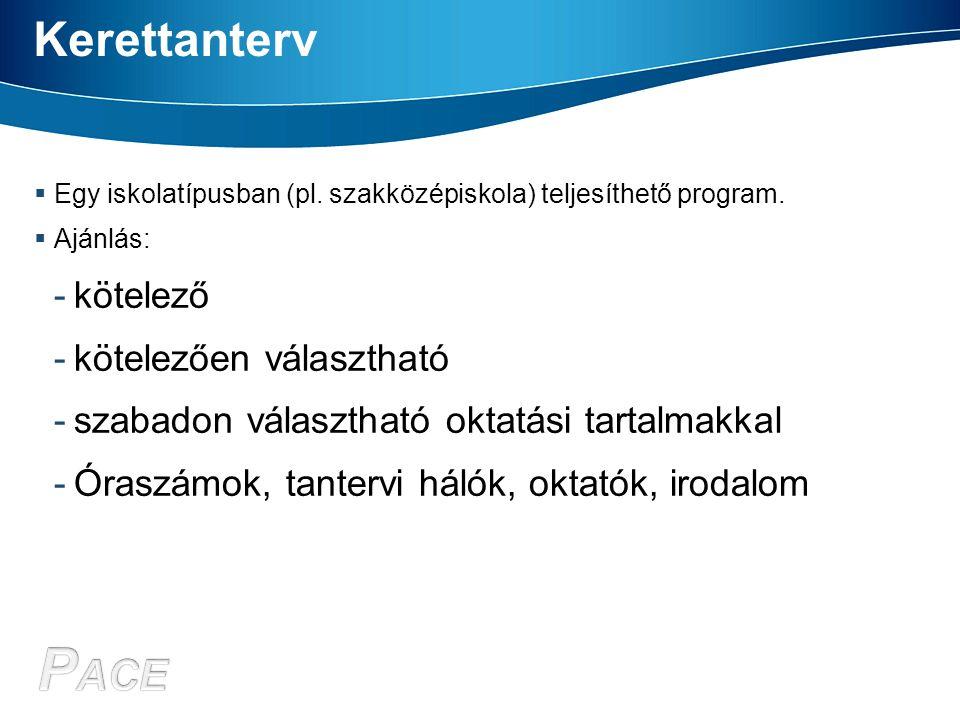 Kerettanterv  Egy iskolatípusban (pl. szakközépiskola) teljesíthető program.  Ajánlás: -kötelező -kötelezően választható -szabadon választható oktat