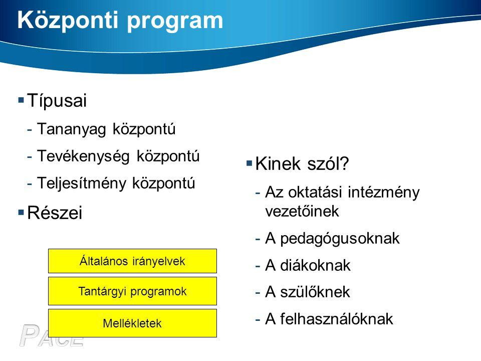 Központi program  Típusai -Tananyag központú -Tevékenység központú -Teljesítmény központú  Részei  Kinek szól? -Az oktatási intézmény vezetőinek -A