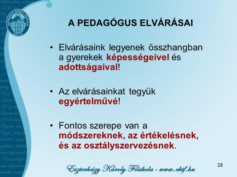 28 A PEDAGÓGUS ELVÁRÁSAI Elvárásaink legyenek összhangban a gyerekek képességeivel és adottságaival.