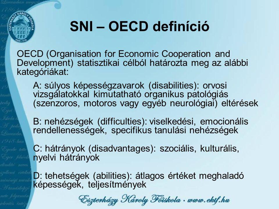 SNI – OECD definíció OECD (Organisation for Economic Cooperation and Development) statisztikai célból határozta meg az alábbi kategóriákat: A: súlyos képességzavarok (disabilities): orvosi vizsgálatokkal kimutatható organikus patológiás (szenzoros, motoros vagy egyéb neurológiai) eltérések B: nehézségek (difficulties): viselkedési, emocionális rendellenességek, specifikus tanulási nehézségek C: hátrányok (disadvantages): szociális, kulturális, nyelvi hátrányok D: tehetségek (abilities): átlagos értéket meghaladó képességek, teljesítmények