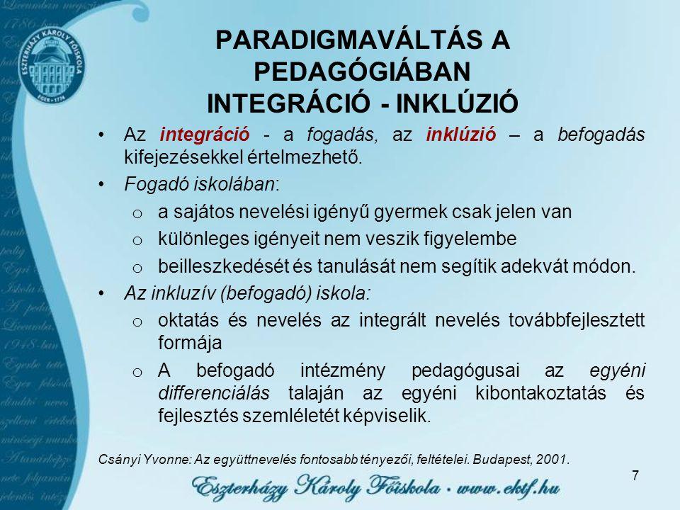 PARADIGMAVÁLTÁS A PEDAGÓGIÁBAN INTEGRÁCIÓ - INKLÚZIÓ Az integráció - a fogadás, az inklúzió – a befogadás kifejezésekkel értelmezhető.