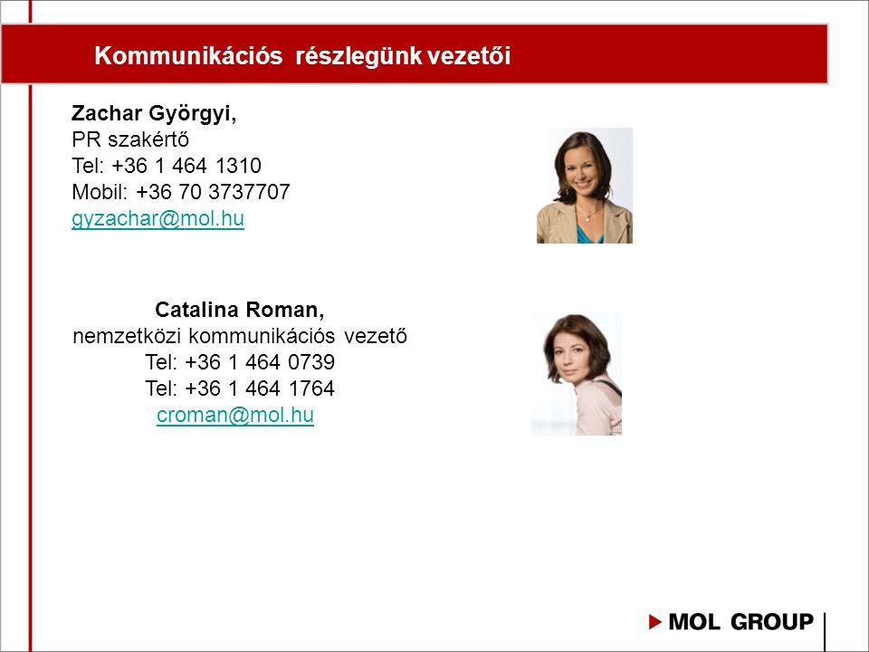 Zachar Györgyi, PR szakértő Tel: +36 1 464 1310 Mobil: +36 70 3737707 gyzachar@mol.hu Catalina Roman, nemzetközi kommunikációs vezető Tel: +36 1 464 0739 Tel: +36 1 464 1764 croman@mol.hu