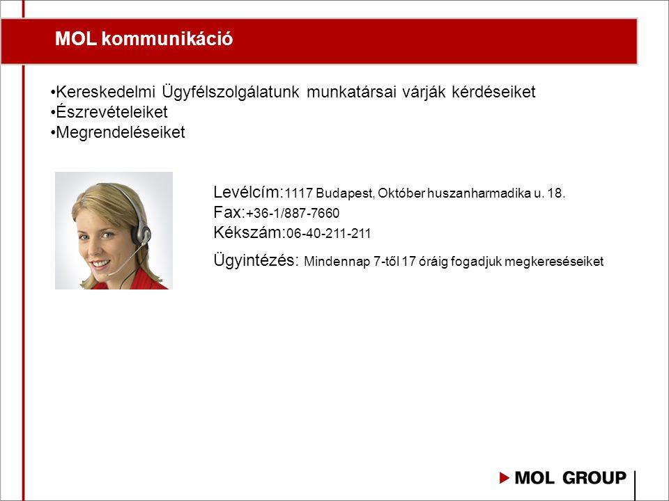 MOL kommunikáció Kereskedelmi Ügyfélszolgálatunk munkatársai várják kérdéseiket Észrevételeiket Megrendeléseiket Levélcím: 1117 Budapest, Október husz