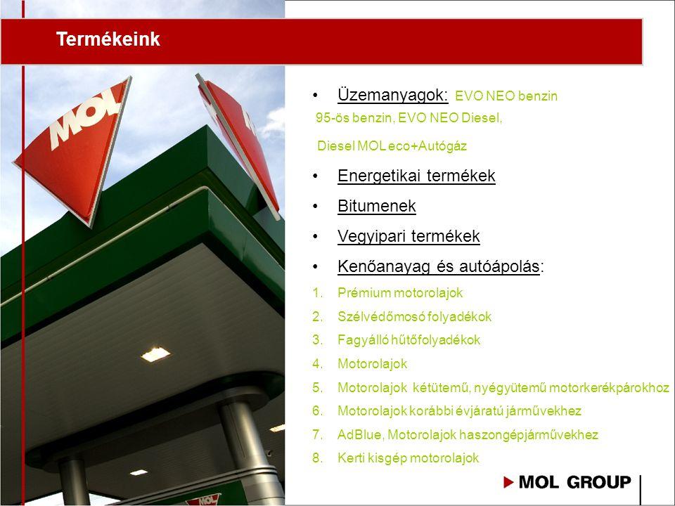 Termékeink Üzemanyagok: EVO NEO benzin 95-ös benzin, EVO NEO Diesel, Diesel MOL eco+Autógáz Energetikai termékek Bitumenek Vegyipari termékek Kenőanayag és autóápolás: 1.Prémium motorolajok 2.Szélvédőmosó folyadékok 3.Fagyálló hűtőfolyadékok 4.Motorolajok 5.Motorolajok kétütemű, nyégyütemű motorkerékpárokhoz 6.Motorolajok korábbi évjáratú járművekhez 7.AdBlue, Motorolajok haszongépjárművekhez 8.Kerti kisgép motorolajok