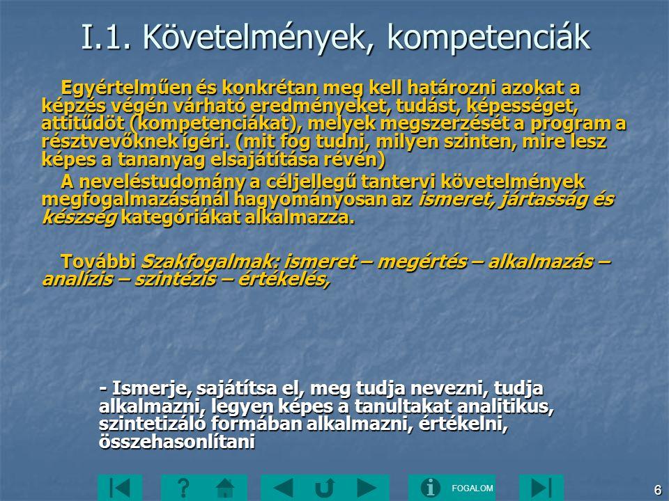 FOGALOM 6 I.1. Követelmények, kompetenciák Egyértelműen és konkrétan meg kell határozni azokat a képzés végén várható eredményeket, tudást, képességet