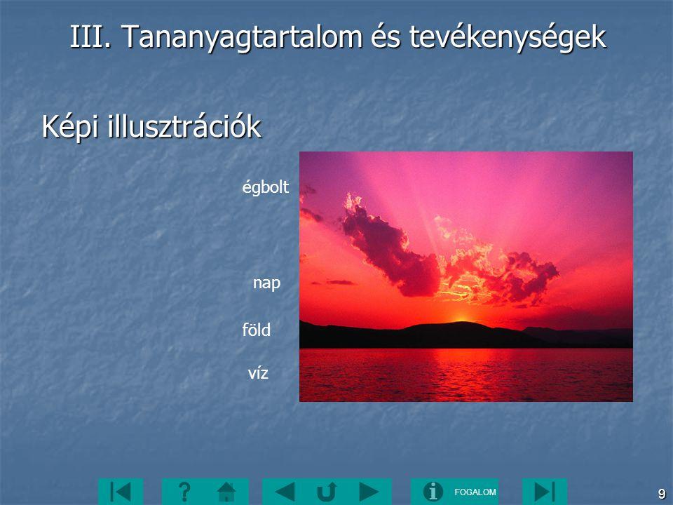 FOGALOM 9 III. Tananyagtartalom és tevékenységek Képi illusztrációk égbolt nap föld víz