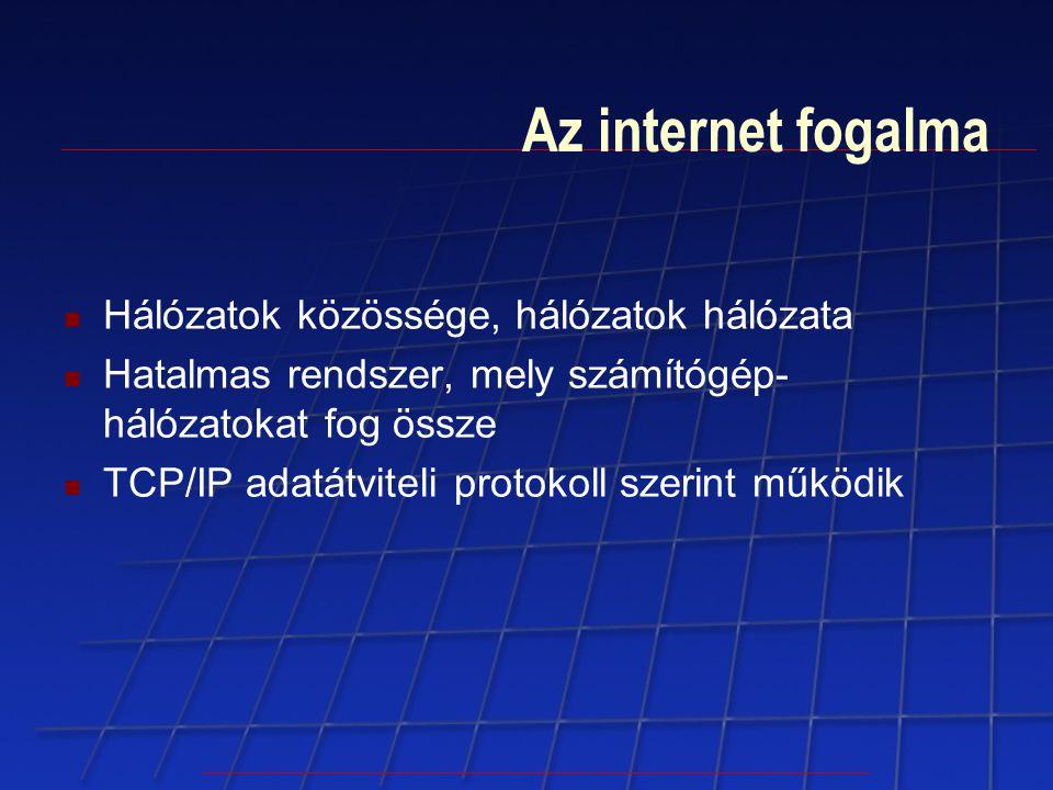 Az internet fogalma Hálózatok közössége, hálózatok hálózata Hatalmas rendszer, mely számítógép- hálózatokat fog össze TCP/IP adatátviteli protokoll sz