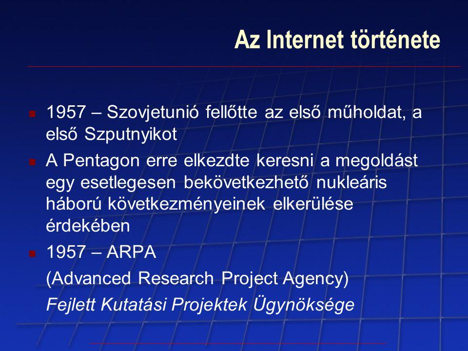 Az Internet története 1957 – Szovjetunió fellőtte az első műholdat, a első Szputnyikot A Pentagon erre elkezdte keresni a megoldást egy esetlegesen be