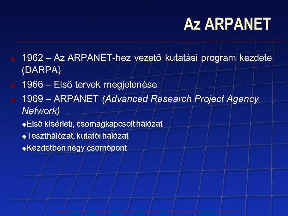 Az ARPANET 1962 – Az ARPANET-hez vezető kutatási program kezdete (DARPA) 1966 – Első tervek megjelenése 1969 – ARPANET (Advanced Research Project Agen