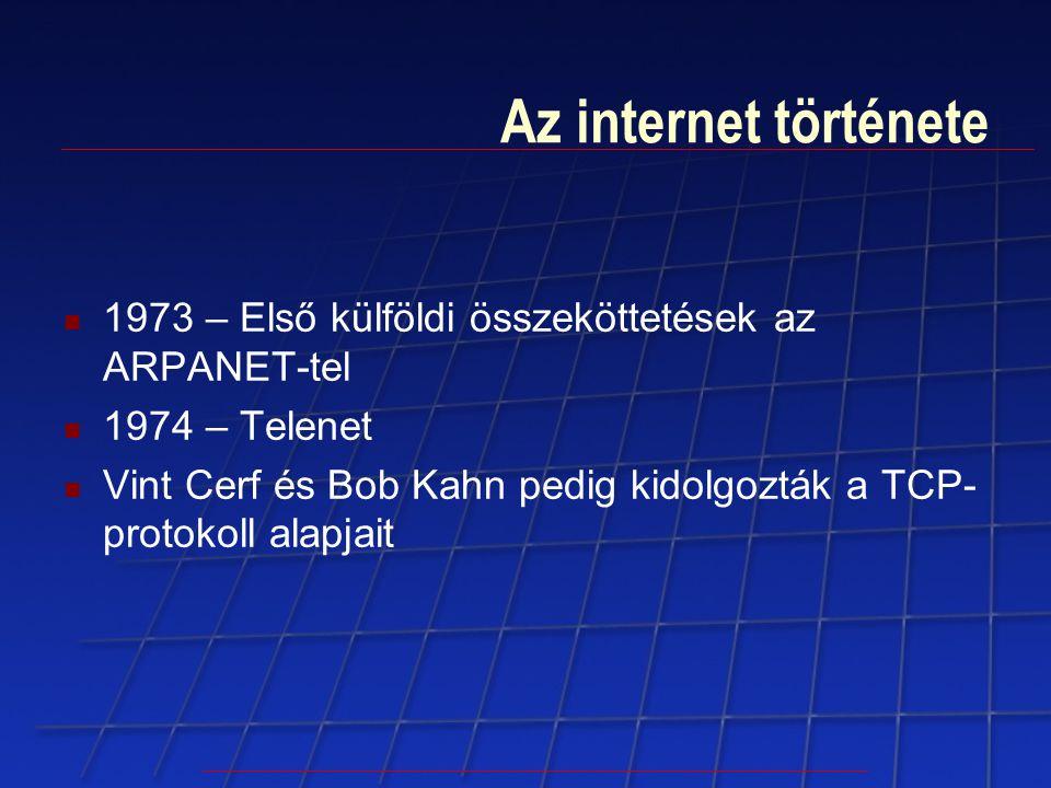 Az internet története 1973 – Első külföldi összeköttetések az ARPANET-tel 1974 – Telenet Vint Cerf és Bob Kahn pedig kidolgozták a TCP- protokoll alap