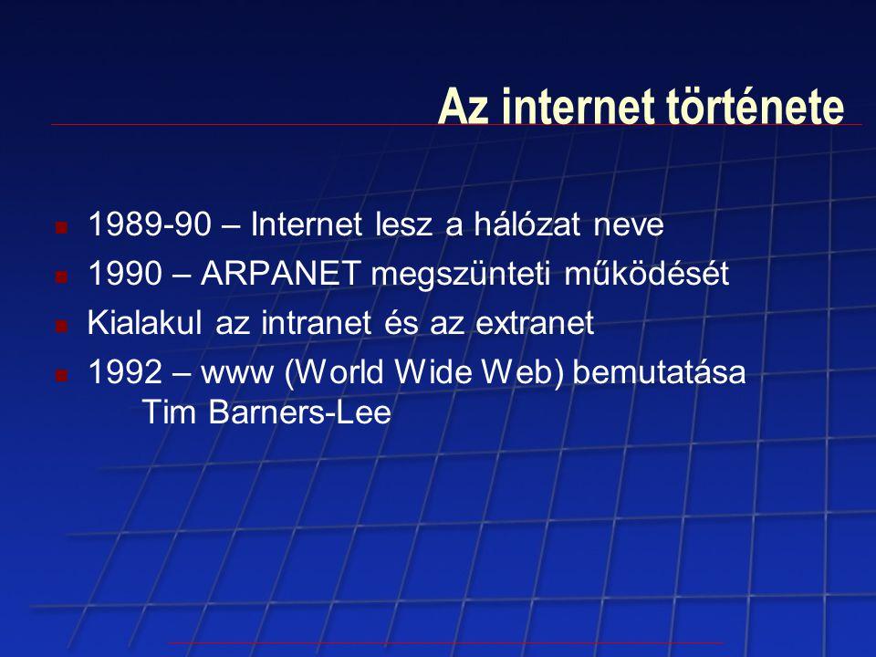 Az internet története 1989-90 – Internet lesz a hálózat neve 1990 – ARPANET megszünteti működését Kialakul az intranet és az extranet 1992 – www (Worl