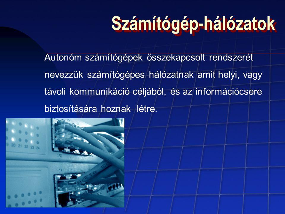 Számítógép-hálózatok Autonóm számítógépek összekapcsolt rendszerét nevezzük számítógépes hálózatnak amit helyi, vagy távoli kommunikáció céljából, és