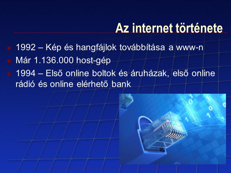 Az internet története 1992 – Kép és hangfájlok továbbítása a www-n Már 1.136.000 host-gép 1994 – Első online boltok és áruházak, első online rádió és