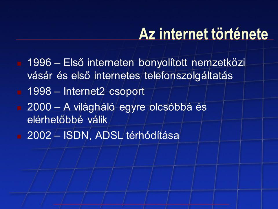 Az internet története 1996 – Első interneten bonyolított nemzetközi vásár és első internetes telefonszolgáltatás 1998 – Internet2 csoport 2000 – A vil