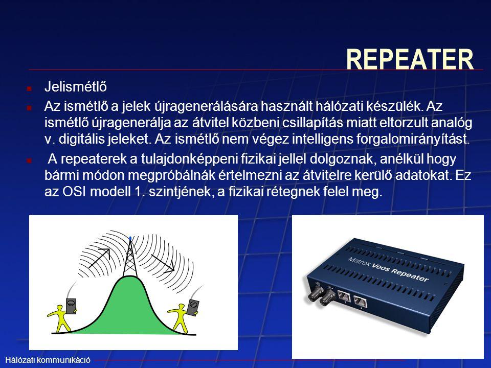 Hálózati kommunikáció REPEATER Jelismétlő Az ismétlő a jelek újragenerálására használt hálózati készülék. Az ismétlő újragenerálja az átvitel közbeni