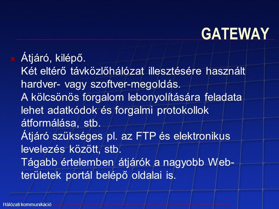 Hálózati kommunikáció GATEWAY Átjáró, kilépő. Két eltérő távközlőhálózat illesztésére használt hardver- vagy szoftver-megoldás. A kölcsönös forgalom l