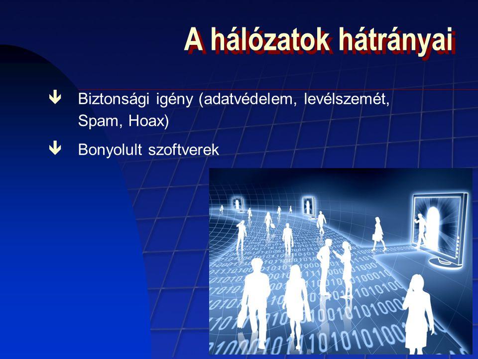 A hálózatok hátrányai êBiztonsági igény (adatvédelem, levélszemét, Spam, Hoax) êBonyolult szoftverek