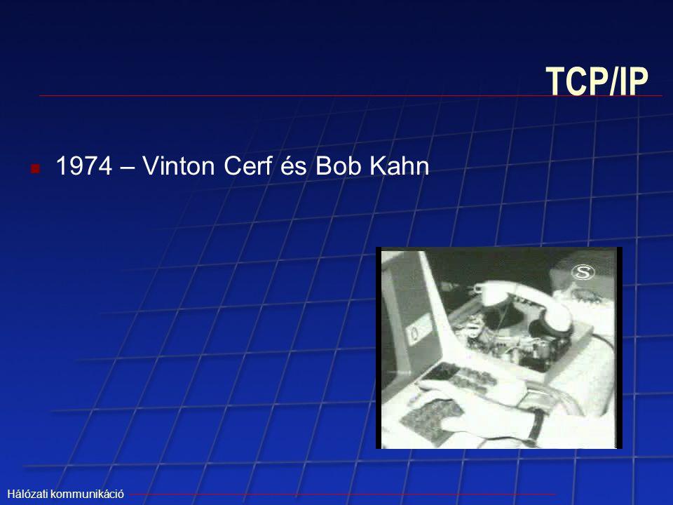 Hálózati kommunikáció TCP/IP 1974 – Vinton Cerf és Bob Kahn