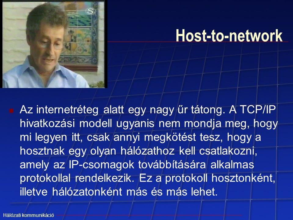 Hálózati kommunikáció Host-to-network Az internetréteg alatt egy nagy űr tátong. A TCP/IP hivatkozási modell ugyanis nem mondja meg, hogy mi legyen it