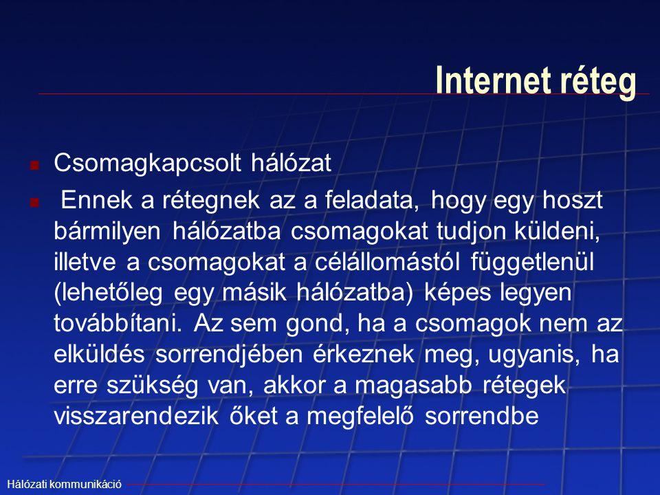 Hálózati kommunikáció Internet réteg Csomagkapcsolt hálózat Ennek a rétegnek az a feladata, hogy egy hoszt bármilyen hálózatba csomagokat tudjon külde