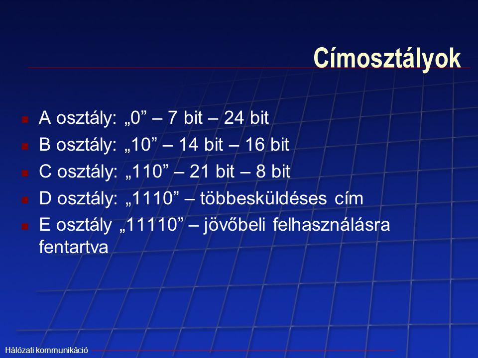 """Hálózati kommunikáció Címosztályok A osztály: """"0"""" – 7 bit – 24 bit B osztály: """"10"""" – 14 bit – 16 bit C osztály: """"110"""" – 21 bit – 8 bit D osztály: """"111"""