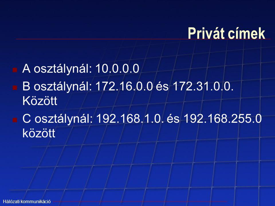 Hálózati kommunikáció Privát címek A osztálynál: 10.0.0.0 B osztálynál: 172.16.0.0 és 172.31.0.0. Között C osztálynál: 192.168.1.0. és 192.168.255.0 k