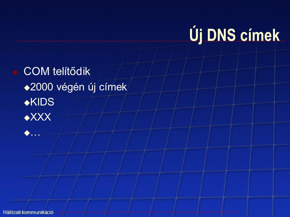 Hálózati kommunikáció Új DNS címek COM telítődik  2000 végén új címek  KIDS  XXX ……