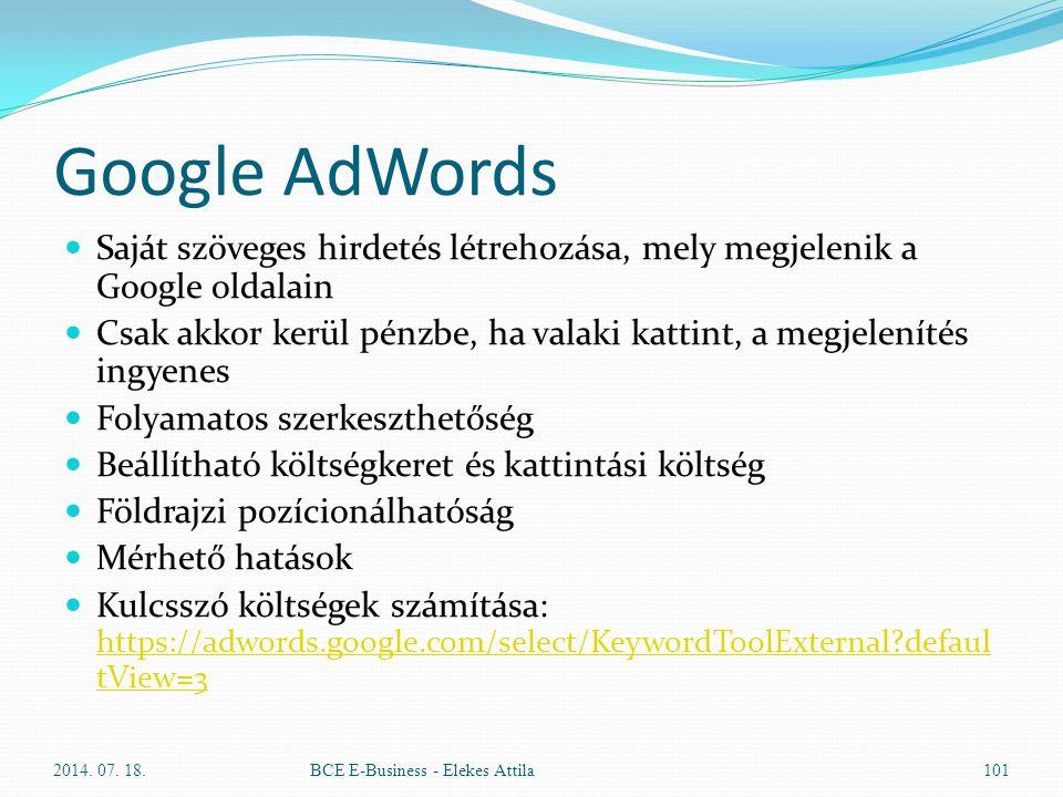 Google AdWords Saját szöveges hirdetés létrehozása, mely megjelenik a Google oldalain Csak akkor kerül pénzbe, ha valaki kattint, a megjelenítés ingye
