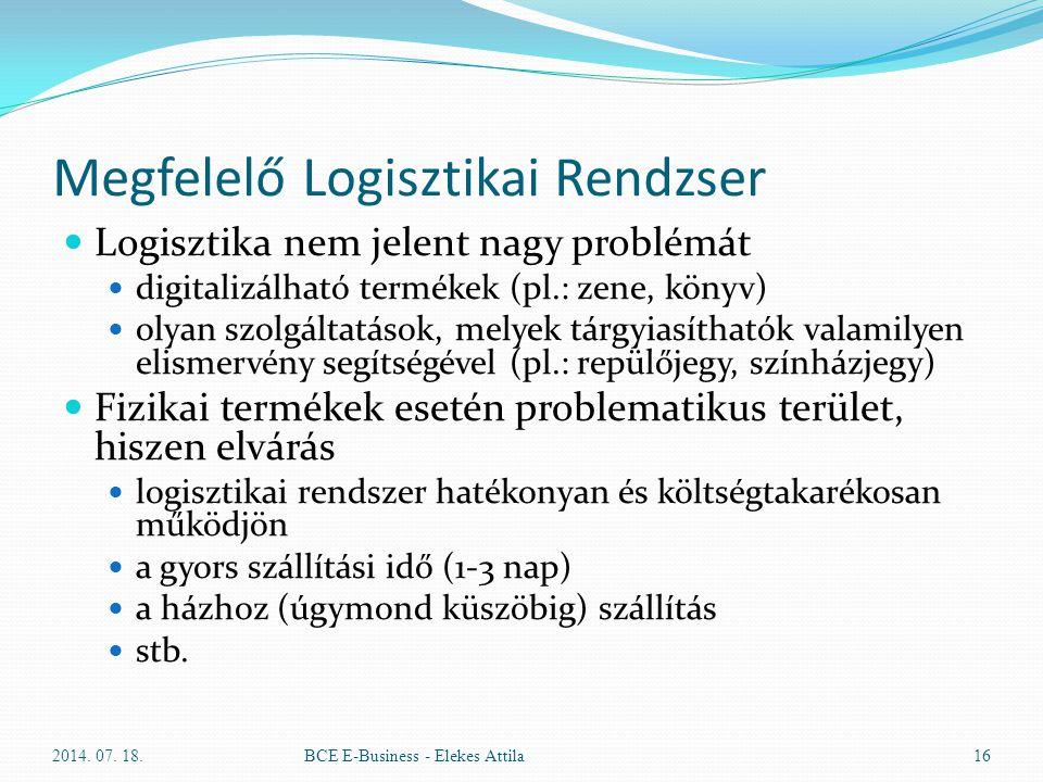 Megfelelő Logisztikai Rendzser Logisztika nem jelent nagy problémát digitalizálható termékek (pl.: zene, könyv) olyan szolgáltatások, melyek tárgyiasí