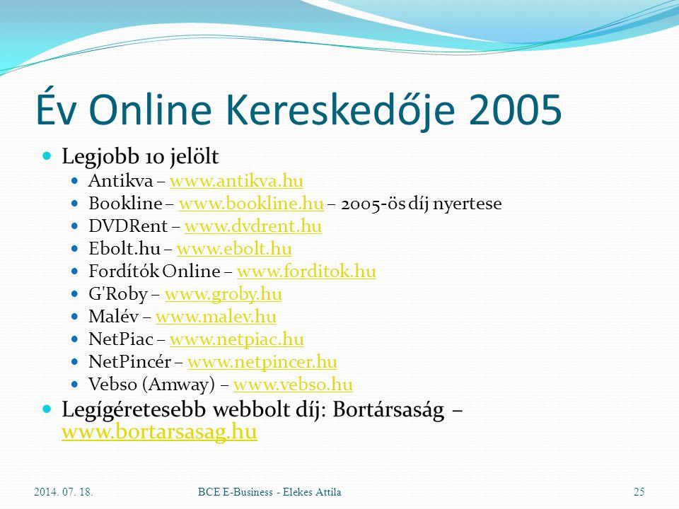 Év Online Kereskedője 2005 Legjobb 10 jelölt Antikva – www.antikva.huwww.antikva.hu Bookline – www.bookline.hu – 2005-ös díj nyertesewww.bookline.hu D