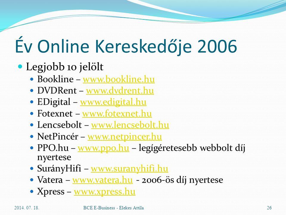Év Online Kereskedője 2006 Legjobb 10 jelölt Bookline – www.bookline.huwww.bookline.hu DVDRent – www.dvdrent.huwww.dvdrent.hu EDigital – www.edigital.