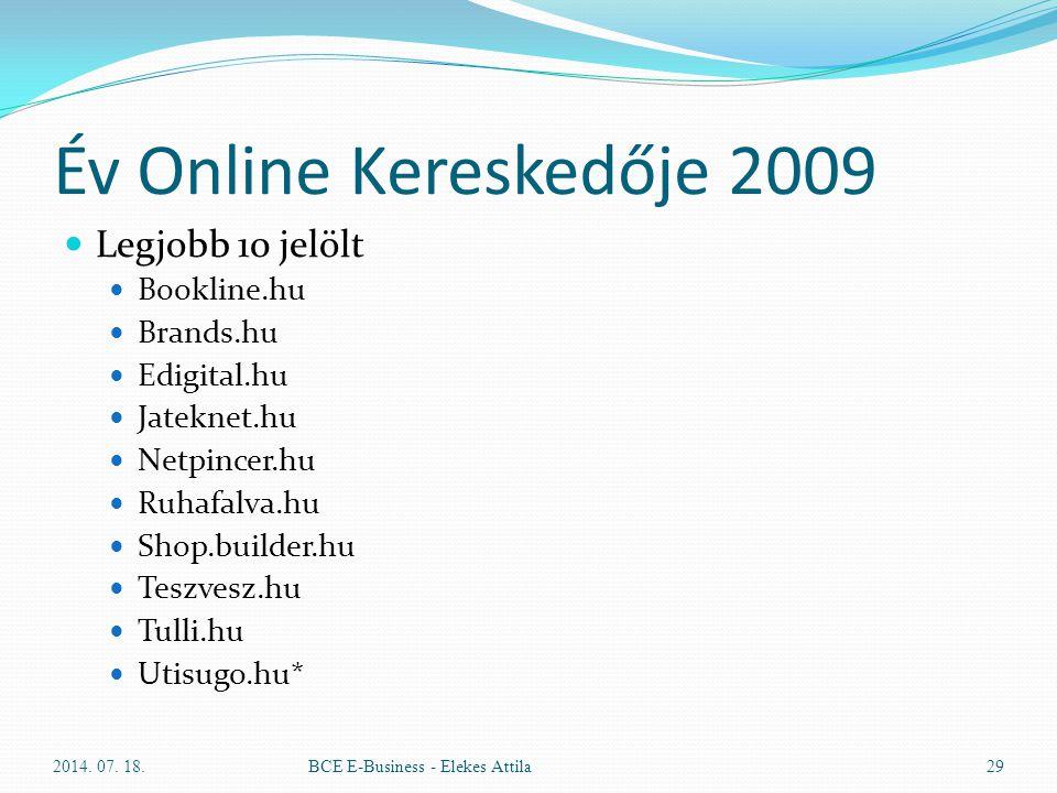 Év Online Kereskedője 2009 Legjobb 10 jelölt Bookline.hu Brands.hu Edigital.hu Jateknet.hu Netpincer.hu Ruhafalva.hu Shop.builder.hu Teszvesz.hu Tulli
