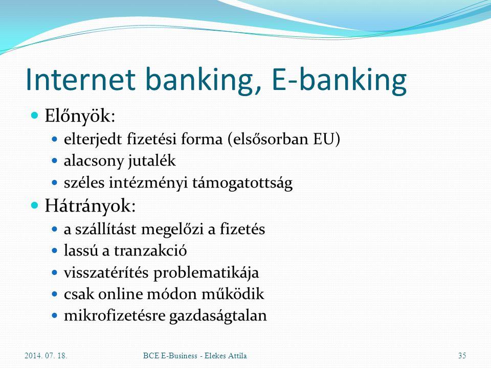 Internet banking, E-banking Előnyök: elterjedt fizetési forma (elsősorban EU) alacsony jutalék széles intézményi támogatottság Hátrányok: a szállítást