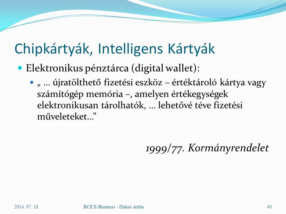 """Chipkártyák, Intelligens Kártyák Elektronikus pénztárca (digital wallet): """"... újratölthető fizetési eszköz – értéktároló kártya vagy számítógép memór"""