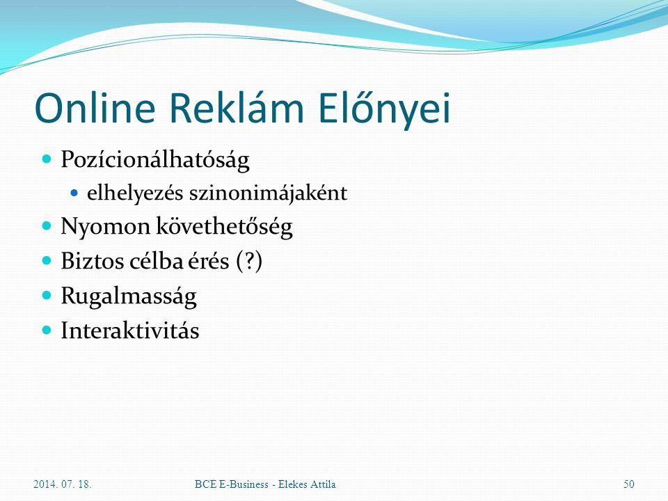 Online Reklám Előnyei Pozícionálhatóság elhelyezés szinonimájaként Nyomon követhetőség Biztos célba érés (?) Rugalmasság Interaktivitás 2014. 07. 18.B