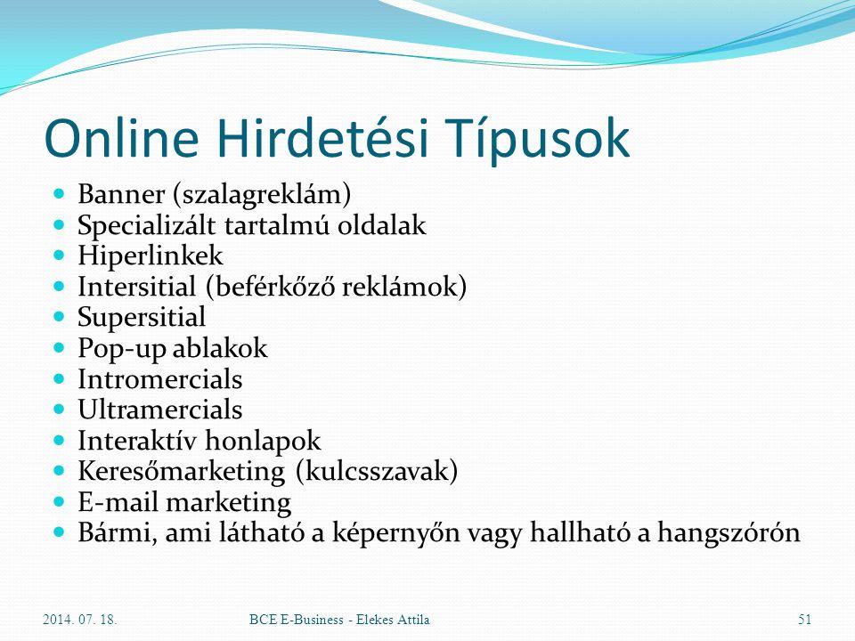 Online Hirdetési Típusok Banner (szalagreklám) Specializált tartalmú oldalak Hiperlinkek Intersitial (beférkőző reklámok) Supersitial Pop-up ablakok I