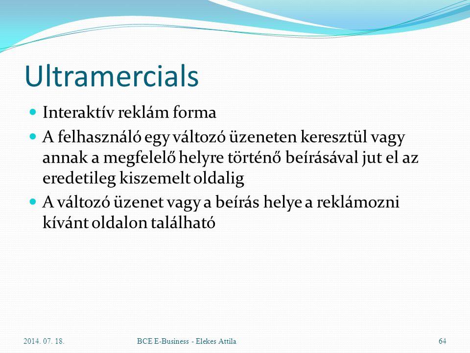 Ultramercials Interaktív reklám forma A felhasználó egy változó üzeneten keresztül vagy annak a megfelelő helyre történő beírásával jut el az eredetil