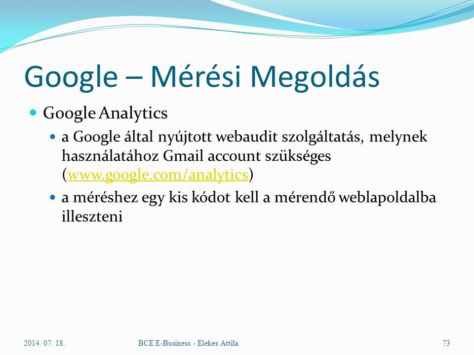 Google – Mérési Megoldás Google Analytics a Google által nyújtott webaudit szolgáltatás, melynek használatához Gmail account szükséges (www.google.com