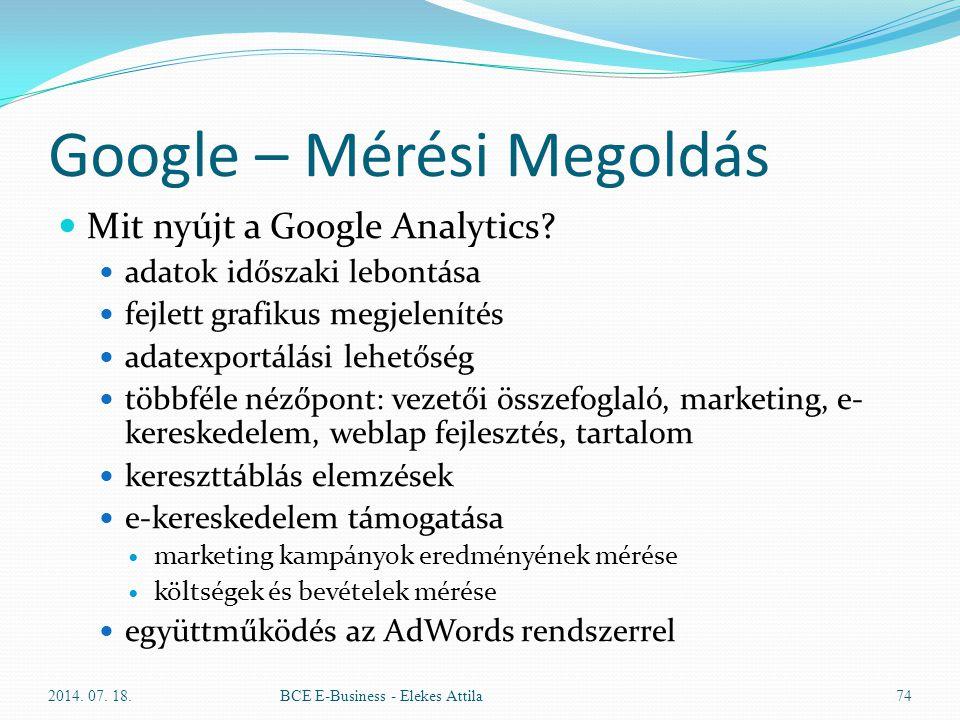 Google – Mérési Megoldás Mit nyújt a Google Analytics? adatok időszaki lebontása fejlett grafikus megjelenítés adatexportálási lehetőség többféle néző