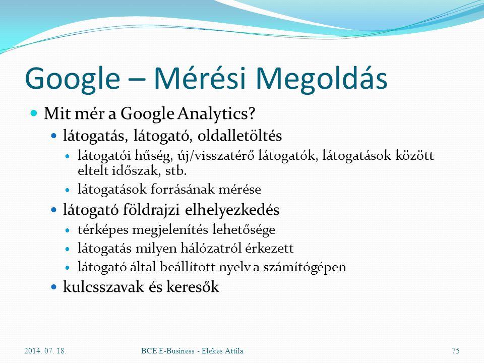 Google – Mérési Megoldás Mit mér a Google Analytics? látogatás, látogató, oldalletöltés látogatói hűség, új/visszatérő látogatók, látogatások között e