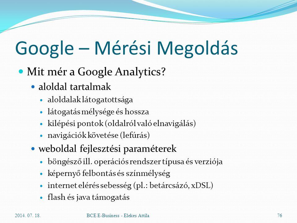 Google – Mérési Megoldás Mit mér a Google Analytics? aloldal tartalmak aloldalak látogatottsága látogatás mélysége és hossza kilépési pontok (oldalról