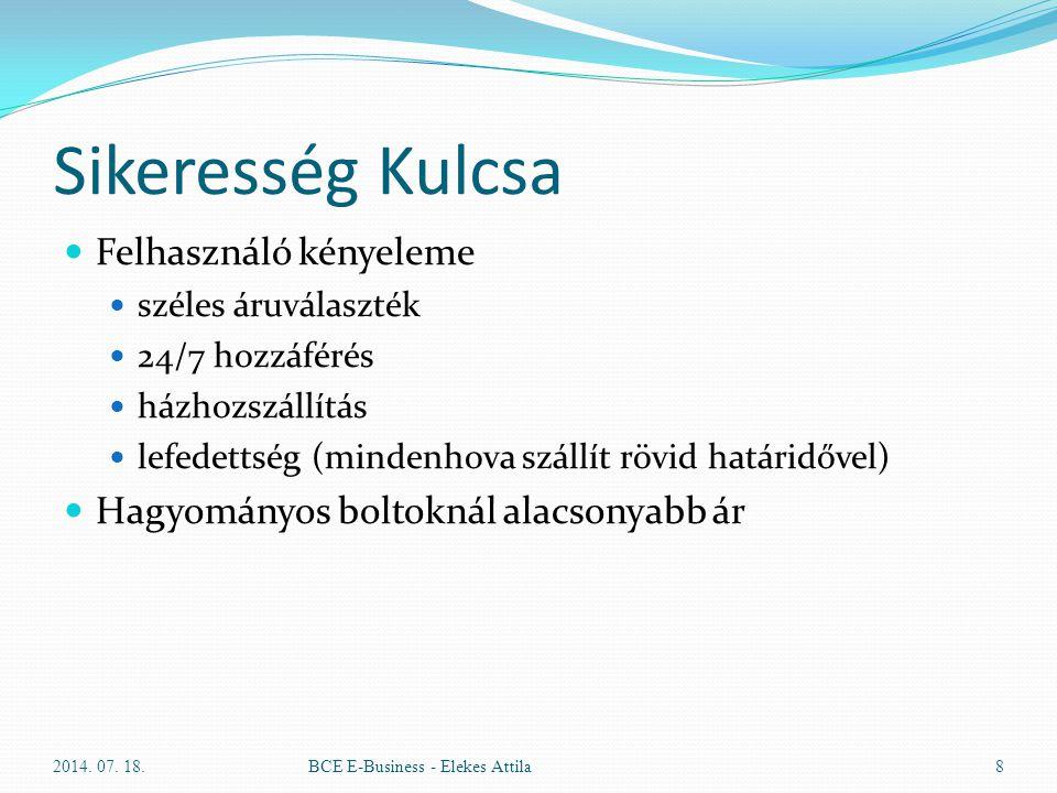 Sikeresség Kulcsa Felhasználó kényeleme széles áruválaszték 24/7 hozzáférés házhozszállítás lefedettség (mindenhova szállít rövid határidővel) Hagyomá