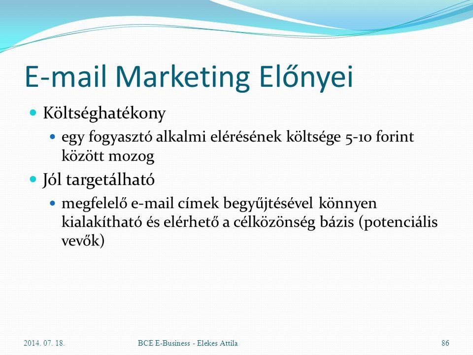 E-mail Marketing Előnyei Költséghatékony egy fogyasztó alkalmi elérésének költsége 5-10 forint között mozog Jól targetálható megfelelő e-mail címek be