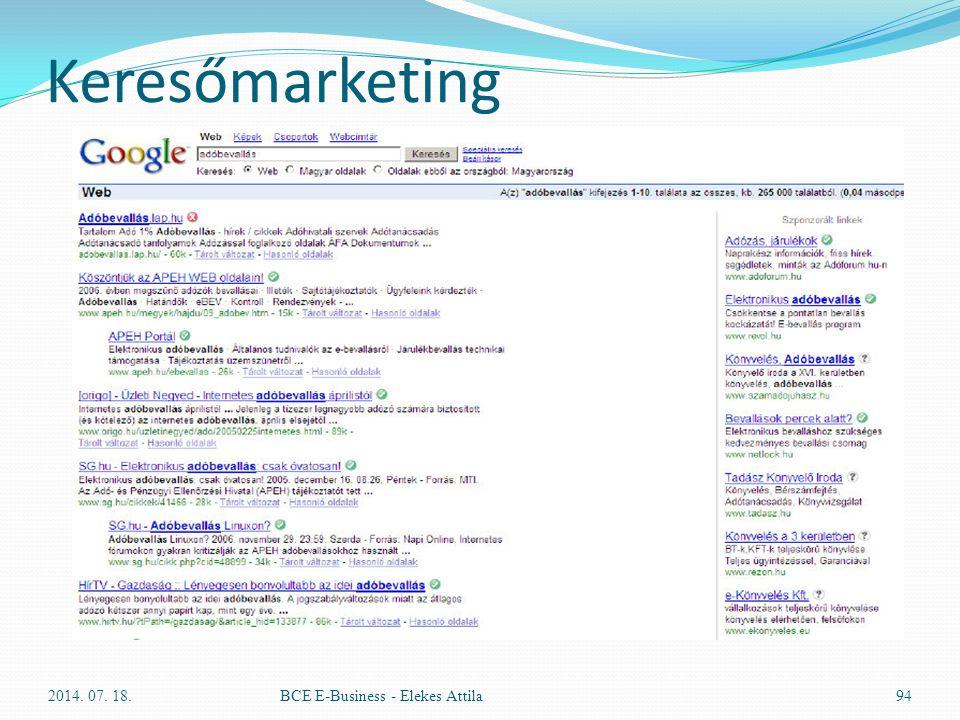 Keresőmarketing 2014. 07. 18.BCE E-Business - Elekes Attila94