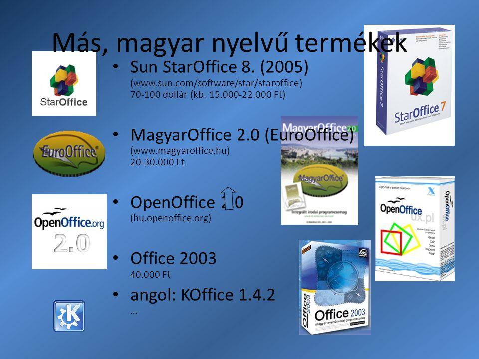 Más, magyar nyelvű termékek Sun StarOffice 8. (2005) (www.sun.com/software/star/staroffice) 70-100 dollár (kb. 15.000-22.000 Ft) MagyarOffice 2.0 (Eur