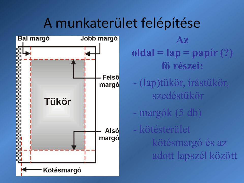 A munkaterület felépítése Az oldal = lap = papír (?) fő részei: - (lap)tükör, írástükör, szedéstükör - margók (5 db) - kötésterület kötésmargó és az a