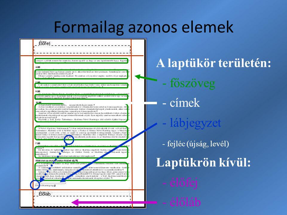 Formailag azonos elemek A laptükör területén: - főszöveg - címek - lábjegyzet - fejléc (újság, levél) Laptükrön kívül: - élőfej - élőláb