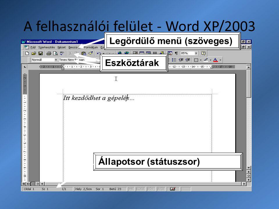 A felhasználói felület - Word XP/2003 Legördülő menü (szöveges) Eszköztárak Állapotsor (státuszsor)