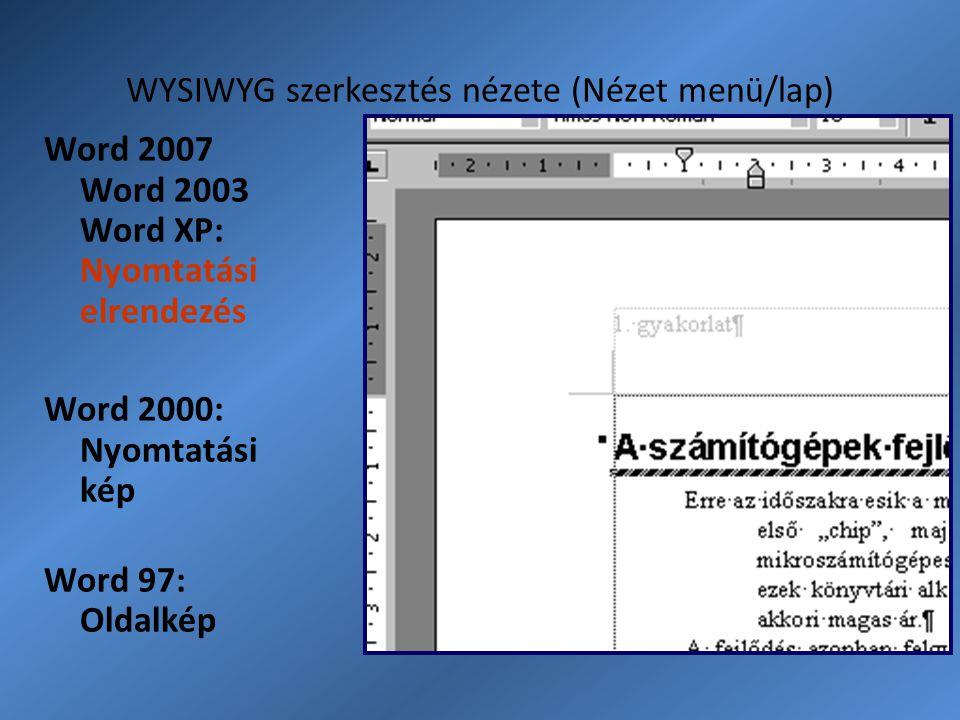 WYSIWYG szerkesztés nézete (Nézet menü/lap) Word 2007 Word 2003 Word XP: Nyomtatási elrendezés Word 2000: Nyomtatási kép Word 97: Oldalkép
